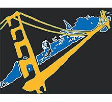 Golden State Warriors Stencil Team Colors Black Photographic Print