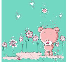 Pink bear in love Photographic Print
