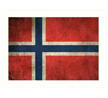 Old and Worn Distressed Vintage Flag of Norway Art Print