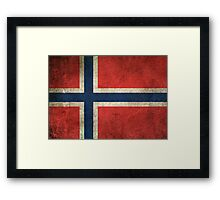 Old and Worn Distressed Vintage Flag of Norway Framed Print