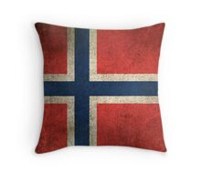 Old and Worn Distressed Vintage Flag of Norway Throw Pillow