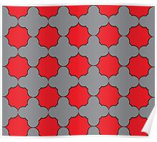 Red and Gray pattern Poster