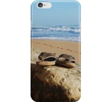 Desolate relaxing beach with flipflops iPhone Case/Skin