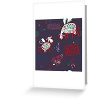 Pattern with funny cows Greeting Card