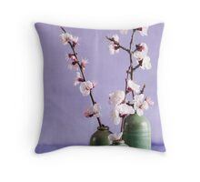 Blossoms and vases Throw Pillow