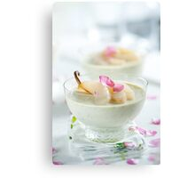Pistachio Panna Cotta with Rose Poached Pears Canvas Print