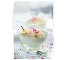Pistachio Panna Cotta with Rose Poached Pears Poster