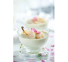 Pistachio Panna Cotta with Rose Poached Pears Photographic Print