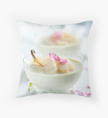 Pistachio Panna Cotta with Rose Poached Pears Throw Pillow