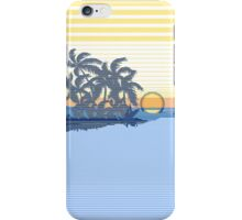 Big Sunset Hawaiian Stripe Surfers - Ocean Blue & Yellow iPhone Case/Skin