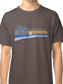 Big Sunset Hawaiian Stripe Surfers - Ocean Blue & Yellow Classic T-Shirt