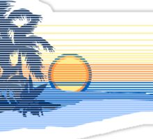 Big Sunset Hawaiian Stripe Surfers - Ocean Blue & Yellow Sticker