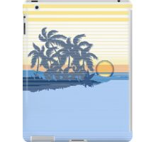 Big Sunset Hawaiian Stripe Surfers - Ocean Blue & Yellow iPad Case/Skin