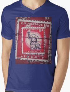 Stamp of Liberty Mens V-Neck T-Shirt