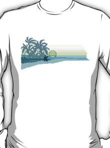 Big Sunset Hawaiian Stripe Surfers - Aqua & Lemon T-Shirt