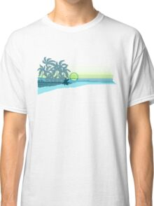 Big Sunset Hawaiian Stripe Surfers - Aqua & Lemon Classic T-Shirt