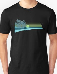 Big Sunset Hawaiian Stripe Surfers - Aqua & Lemon Unisex T-Shirt