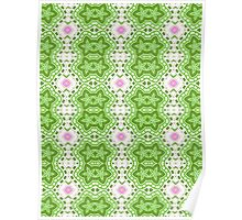 Green, White and Pink Abstract Flower Design Poster