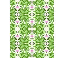 Green, White and Pink Abstract Flower Design Photographic Print