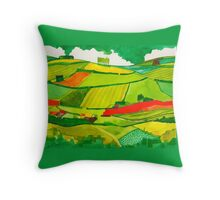 Green landscape repeat Throw Pillow