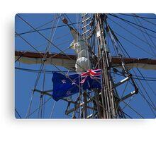 New Zealand ensign aboard ' Spirit of New Zealand ' ........! Canvas Print