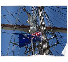 New Zealand ensign aboard ' Spirit of New Zealand ' ........! Poster