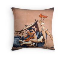 The Flintstones go Lowbrow Throw Pillow