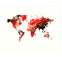 Map of The World 10 -Colorful Abstract Art Art Print