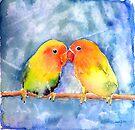 Lovey Dovey Lovebirds by arline wagner