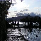 silhouette of boat at Keswick by monkeyferret