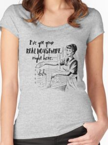 Real Housewife Parody - Retro 50s Housewife - Real Housewives Do Dishes - Clean - Sarcasm Women's Fitted Scoop T-Shirt