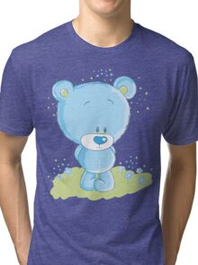 Shy blue bear Tri-blend T-Shirt