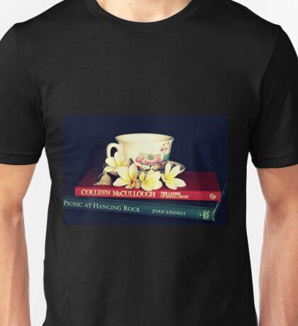 Frangipanis, Books And Teacup. Unisex T-Shirt