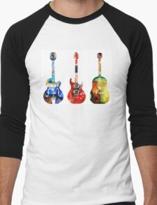 Guitar Threesome - Colorful Guitars By Sharon Cummings Men's Baseball ¾ T-Shirt