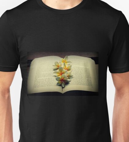 Frangipanis On A Book Unisex T-Shirt