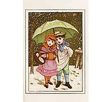 Flowers & Fancies Valentines Ancient & Modern Montgomerie Ranking art Kate Greenaway 1882 0141 Winter Snow and Umbrella Photographic Print