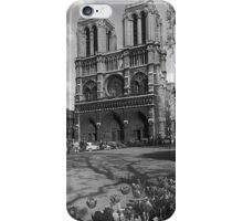BW France Paris Notre Dame Cathedral 1970s iPhone Case/Skin