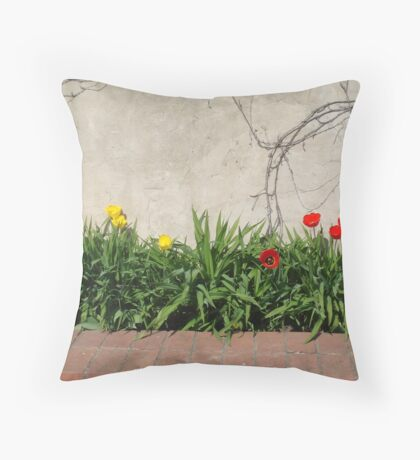 Red & Yellow Tulips Throw Pillow