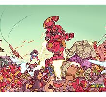 IRON DUDE FIGHTING GREEN DUDE by Ulises Farinas