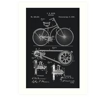 Vintage Bicycle patent illustration 1890 Art Print