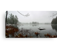 Beaver Pond - Light April Snow -- Bridgton,  Maine Canvas Print