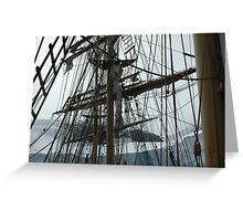 Tall ship maze of rigging Greeting Card