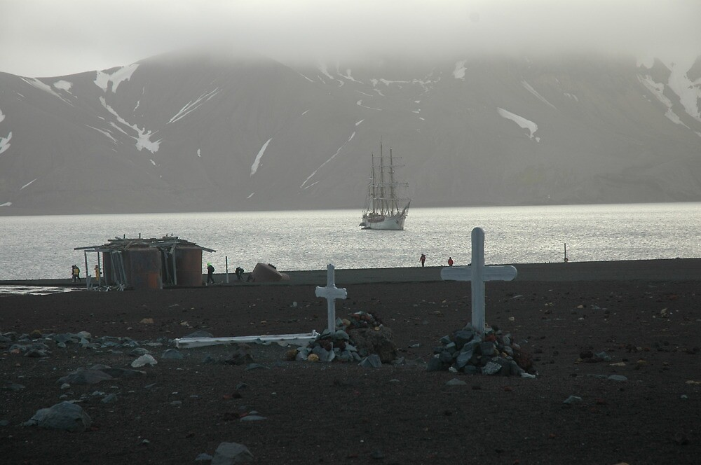 Graves at Deception Island Whaling Station, Antarctica by suebuz