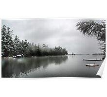 Green Boathouse - Snowy April Day -- Bridgton,  Maine Poster