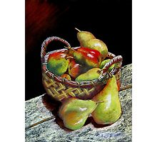 Apples and pears Pastel Painting Photographic Print
