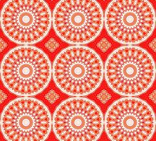White, Red and Orange Abstract Design Pattern by Mercury McCutcheon