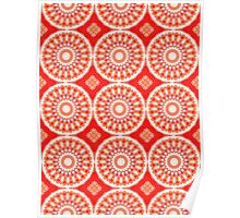 White, Red and Orange Abstract Design Pattern Poster