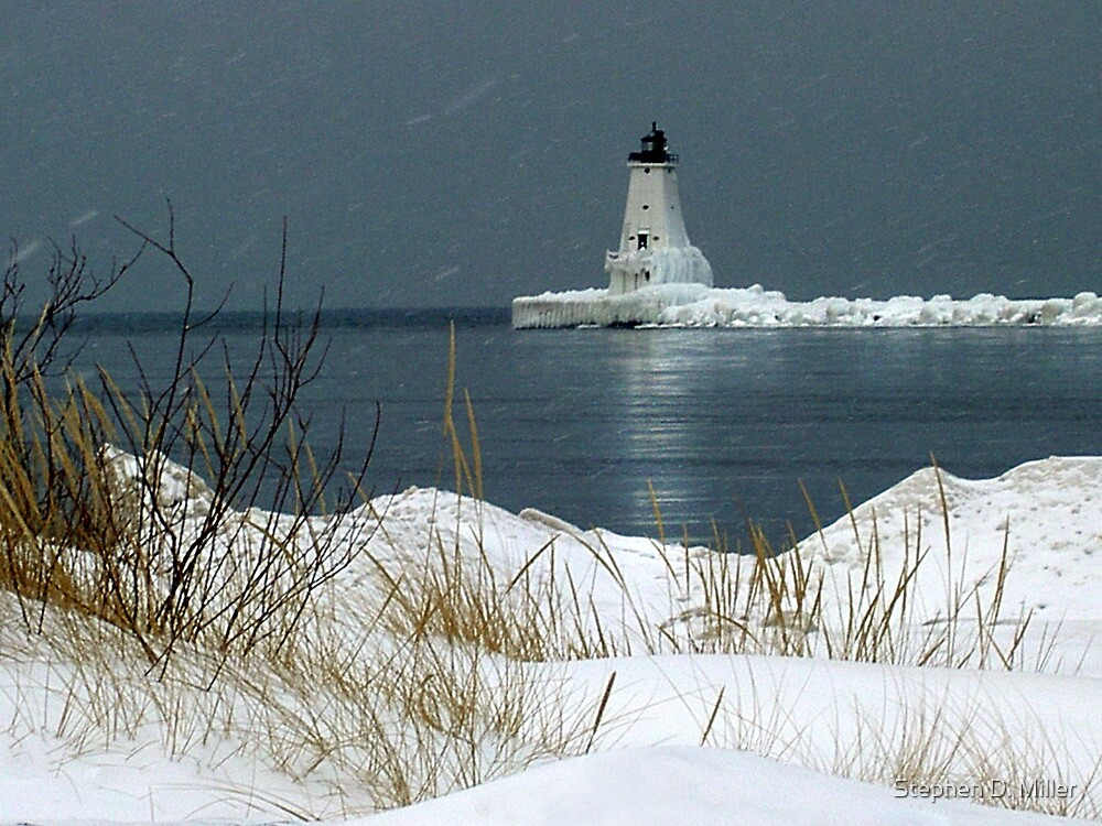 The Ludington Lighthouse in Winter by Stephen D. Miller
