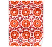 Orange, White and Red Abstract Design Pattern Poster
