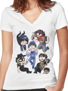 All Aboard The Steam Train Women's Fitted V-Neck T-Shirt